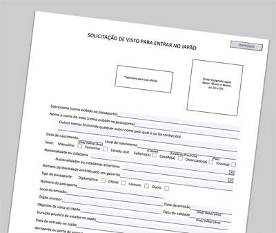 formulário de visto para o Japão